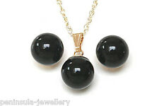 9ct Gold Black Onyx Pendant and Earring Set Gift Boxed Made in UK Christmas