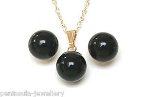 9ct Gold Black Onyx Pendant and Earrings Set Gift Boxed Made in UK