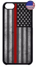 For Apple iPod 4 5 6 Hard Skin Back Case Cover Thin Red Line Flag Firefighter