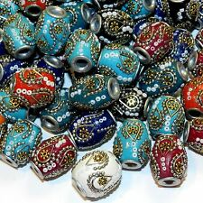 IB220 Assorted Color 20mm Barrel Embellished Indonesia-Style Focal Beads 10pc