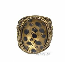 Vintage Bronze Chunky Leopard Print Oval Sovereign Jewellery Small Ring