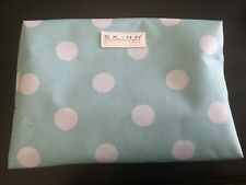 SKINN COSMETICS TURQUOISE W/WHITE DOT COSMETIC BAG WITH ZIP CLOSURE-LINED-NEW