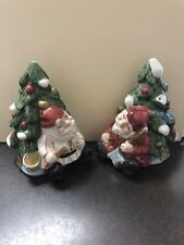 Vintage Fitz & Floyd Omnibus Christmas Tree w/ Elves Salt & Pepper Set