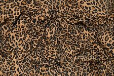 """LEOPARD PRINT ON NATURAL BROWN SINGLE JERSEY STRETCH FABRIC 62"""" WIDTH"""