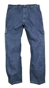New Wrangler Denim Cargo Jeans Men's Size W46 L 32 Phone Pocket Relaxed Fit