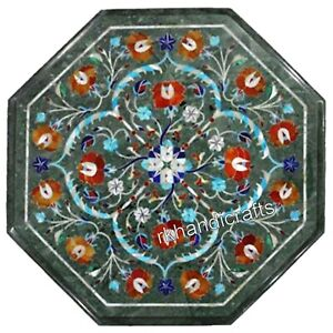 Semi Precious Stones Inlaid Coffee Table Top Green Marble Corner Table 14 Inches