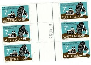 Stamps 1972 Australia 50 years radio broadcasting gutter block 6 & sheet number