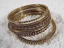 11 pc. Goldtone Bead & Faux Rhinestone Thin Bangle Bracelet Set Lot (A48)