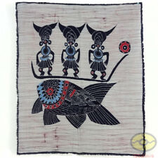 Chinese Folk Art Home Wall Hanging Batik Tapestry - abstract Totem of Fishing