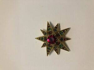 Joan Rivers Red and Green Stones Beautiful Pin