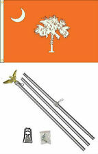 3x5 State of South Carolina Orange Flag Aluminum Pole Kit Set 3'x5'