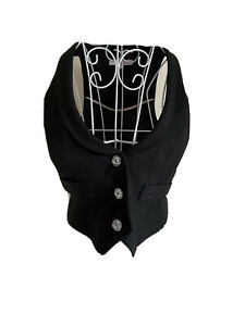 Miss E-vie Girls Waistcoat Age 12-13 Years Black Sparkly With Crystal Buttons