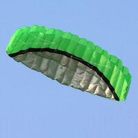 2.5m Outdoor Toys Dual Line Parafoil Parachute Stunt Sport Beach GREEN Kite NEW