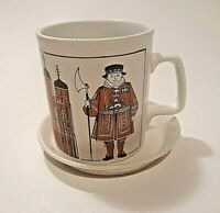Tower of London Cup Mug Staffordshire England Beefeaters Yeoman Guard w/ Coaster