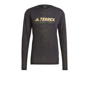 adidas Mens Terrex Trail Long Sleeve Top Black Sports Running Outdoors