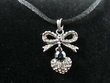 Heart and Bow Necklace – Clear and Black Rhinestone – Preowned