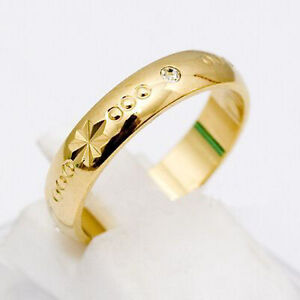 18K Gold Plated Wedding Band 4mm Crystal Ring Size 8 9 New