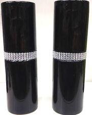 Set 2 BLACK CYLINDER CERAMIC VASE WITH DIAMONTE RING