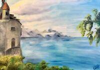 """Geneva Lake, Switzerland"" oil painting on canvas 40x50 cm, original, landscape"