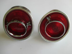 64 CHEV TAIL LIGHTS COMPLETE ASSEMBLIES 1964 IMPALA BELAIR RED LENSES HOUSINGS