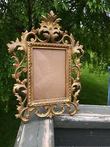 Antique Ornate Gold Gilt Heavy Metal Standing Picture Frame,easel