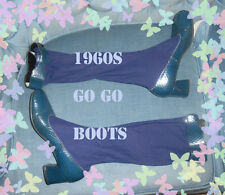 VTG 1960S GOGO BOOTS NAVY BLUE measures 10 inc long 3 1/2 in wide approx SZ 7
