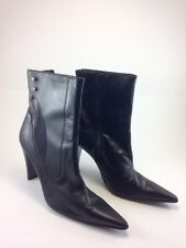 EXTE Black Leather Mid-Ankle High Heel Boots pointy toe Size: 9.5