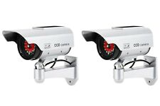 2 x Dummy Cameras / Fake Cctv - Solar Powered Ring of Red Led Lights