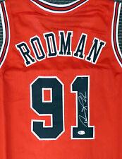 CHICAGO BULLS DENNIS RODMAN AUTOGRAPHED SIGNED RED JERSEY BECKETT 179060