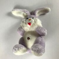 "Happy Mates Plush Bunny VTG Purple 9"" Stuffed Rabbit Red Felt Tongue Colorful"