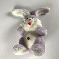"Happy Mates Plush Bunny VTG Purple 9"" Stuffed Rabbit Red Felt Tongue Colorful"