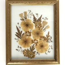 Framed Dried Pressed Flower Art Yellow Gold Signed Numbered Grace M. Jackson