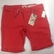 NEW INDIGO REIN Long Red Shorts Size 15 XL X Large Stretch Bermuda Walk Pants
