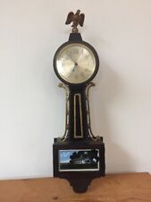 """Antique Vtg 1920s New Haven Miniature Banjo 12 Day Wall Clock 16"""" UNTESTED"""