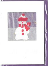 Christmas Holiday Cards 3D Handmade Snowman Embossed UK Import