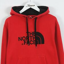 The North Face Spell Out Logo Embroidered Hoodie Sweatshirt in Red Size S