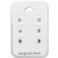 Stainless Steel 3 Pair Lot Tiny 3mm Mix CZ Crystal Kids Stud Earrings 2571