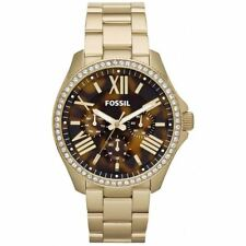 Fossil Ladies Watch 'Cecile' Multifunction Gold Tone Encrusted Stones AM4498