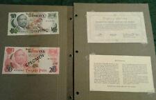 BOTSWANA 1979 1 - 20 Pula Complete 5 Specimen Set CS1 P 1-5 AUNC 001082