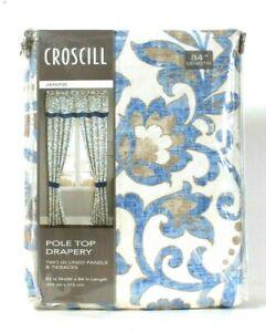 Croscill Janine 82 In W X 84 In L Pole Top Drapery 2 Lined Panels & Tiebacks