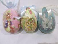 Primitive Vintage Style Easter LARGE  Egg Ornaments Tree Decorations Set of 3