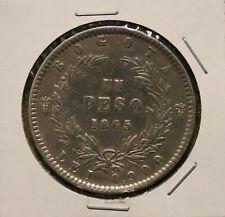 1865 Colombia Peso - KM # 139.1 - 900 silver 25 grams - crown sized - Condor