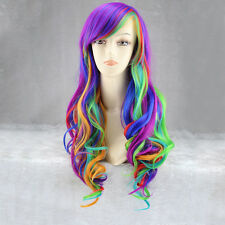 Womens Multi-color Hairstyle Gradient Long Layer Natural Wave Hair Cosplay Wigs