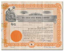 Big Creek Apex Mining Company Stock Certificate