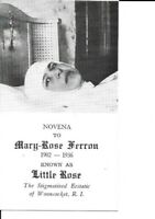Holy Card and Relic of Mystic Stigmatic Marie Rose Ferron (Little Rose)