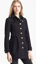 $1250 BURBERRY Ostford Wool Cashmere Military Coat Jacket Trench Navy US 8 Med