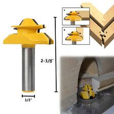 New 45° Lock Miter Router Bit 1/2'' Stock 1/2'' Shank Tenon Cutter Woodworking