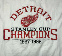Vtg 90s Detroit Red Wings Logo Stanley Cup Champions Embroidered White T Shirt L