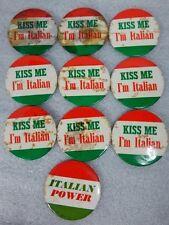 Vintage 1970s Kiss Me Im Italian Power Pinback Pins Bohemian Button Badge 10 Lot