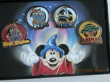 Disney's 4 parks Animal, MGM, Epcot, Magic Kingdom  Pin Set New in Box